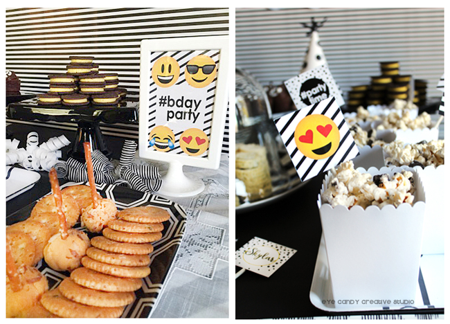 bdayparty sign, mini cheeseballs, crackers, Oreo chocolate covered popcorn