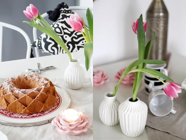 Deko Donnerstag! Heute mit einem vintage Küchentisch, der Kindheitserinnerungen weckt und stylischer Tischdeko! Blick auf die Tischdeko mit Kuchen und weißen Vasen