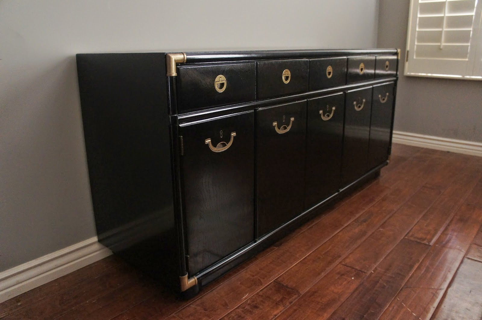 European Paint Finishes Mid Century Modern Glossy Black Lacquered Drexel Sideboard