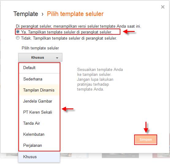 Cara mengaktifkan dan memilih template blog seluler bawaan blogger