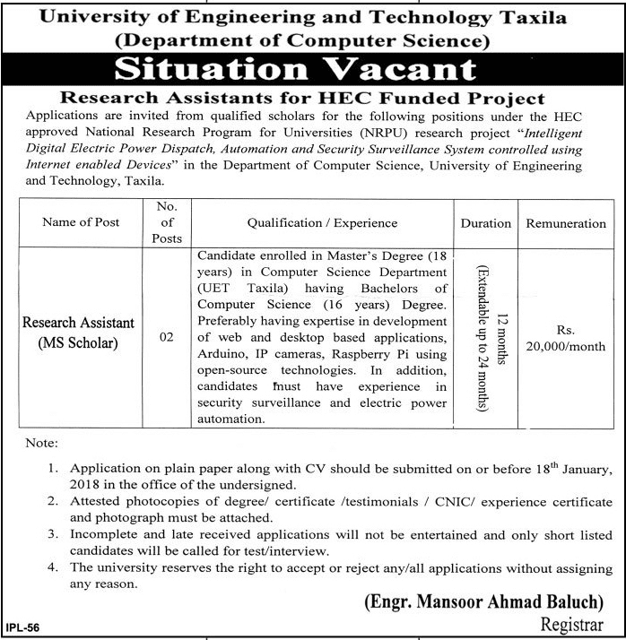 University Of Engineering And Technology Taxila jobs
