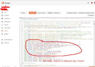tambah meta tag yandex di blogspot