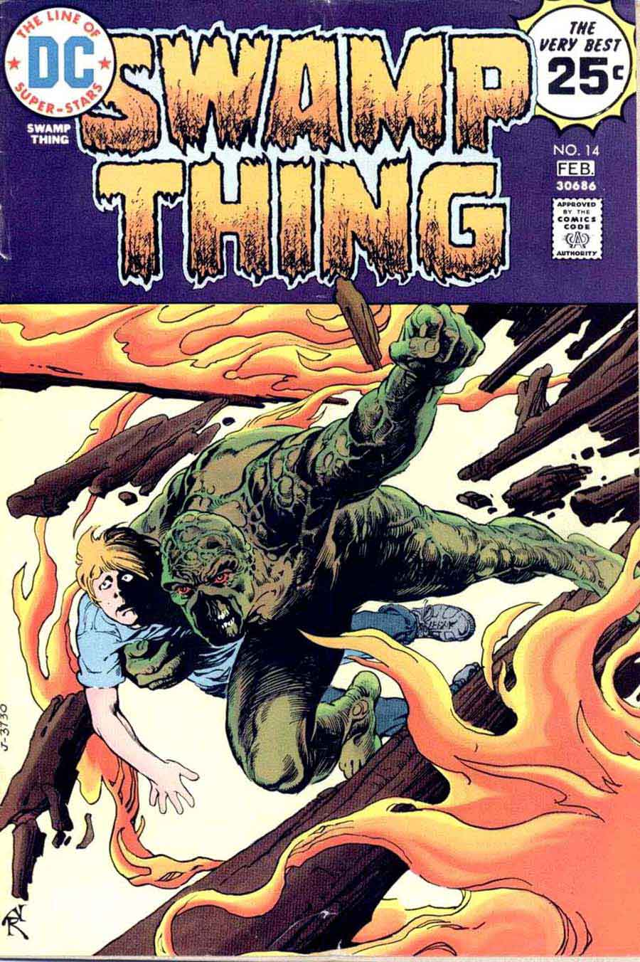 Swamp Thing v1 #14 1970s bronze age dc comic book cover art by Nestor Redondo