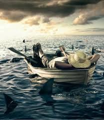 لحظة  لوحدي دولة شخص في قارب وتحيط به اسماك القرش بريمو هندسة
