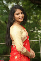 Akshara in Red Saree Golden Choli at LV Movie Makers Production No 1 Movie Opening ~  Exclusive 097.JPG