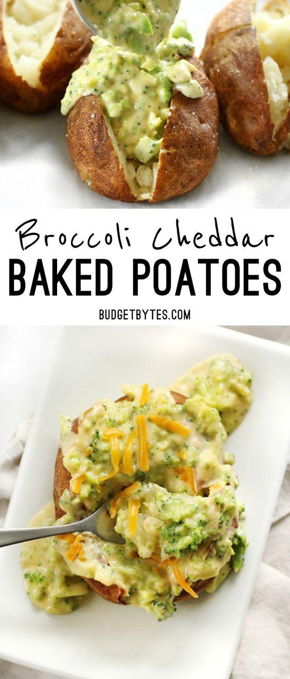 BROCCOLI CHEDDAR BAKED POTATOES #broccoli #cheddar #baked #potaotes #vegan #veganrecipes #vegetarian #vegetarianrecipes