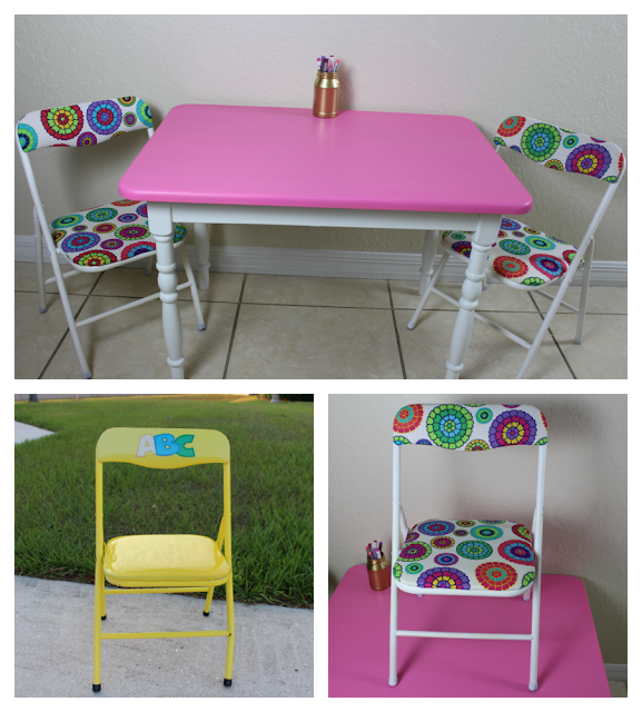 Child's table and chairs makeover