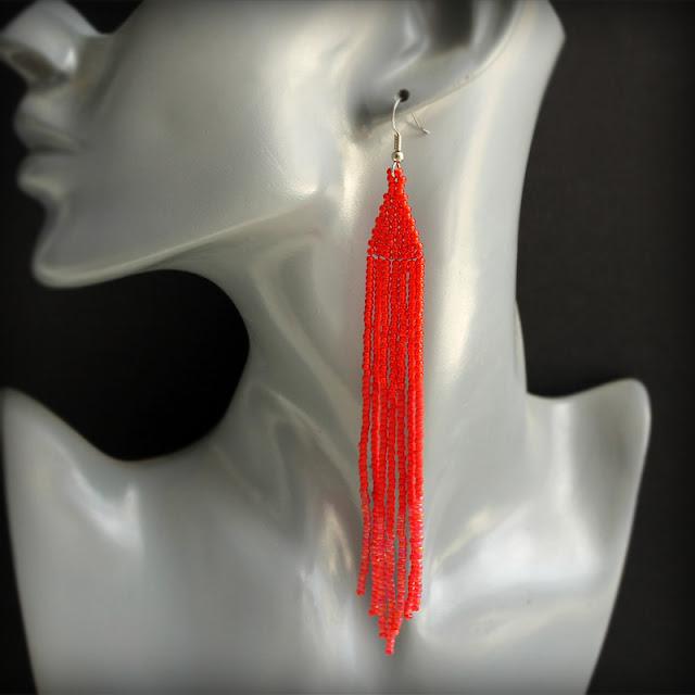 Купить украшения из бисера длинные висячие серьги из красного бисера