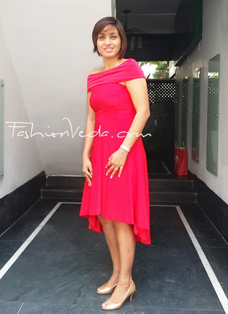 Dramatic Asymmetry Minimalistic Red Dress Vriti