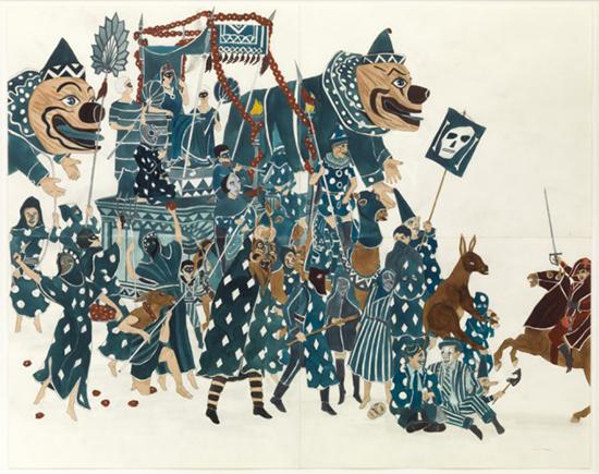 Marcel Dzama The carnaval blues, 2014 watercolor, gouache, and graphite on paper, 4 part work 55,9 x 71,1 cm, 27,9 x 35,6 cm (each paper)
