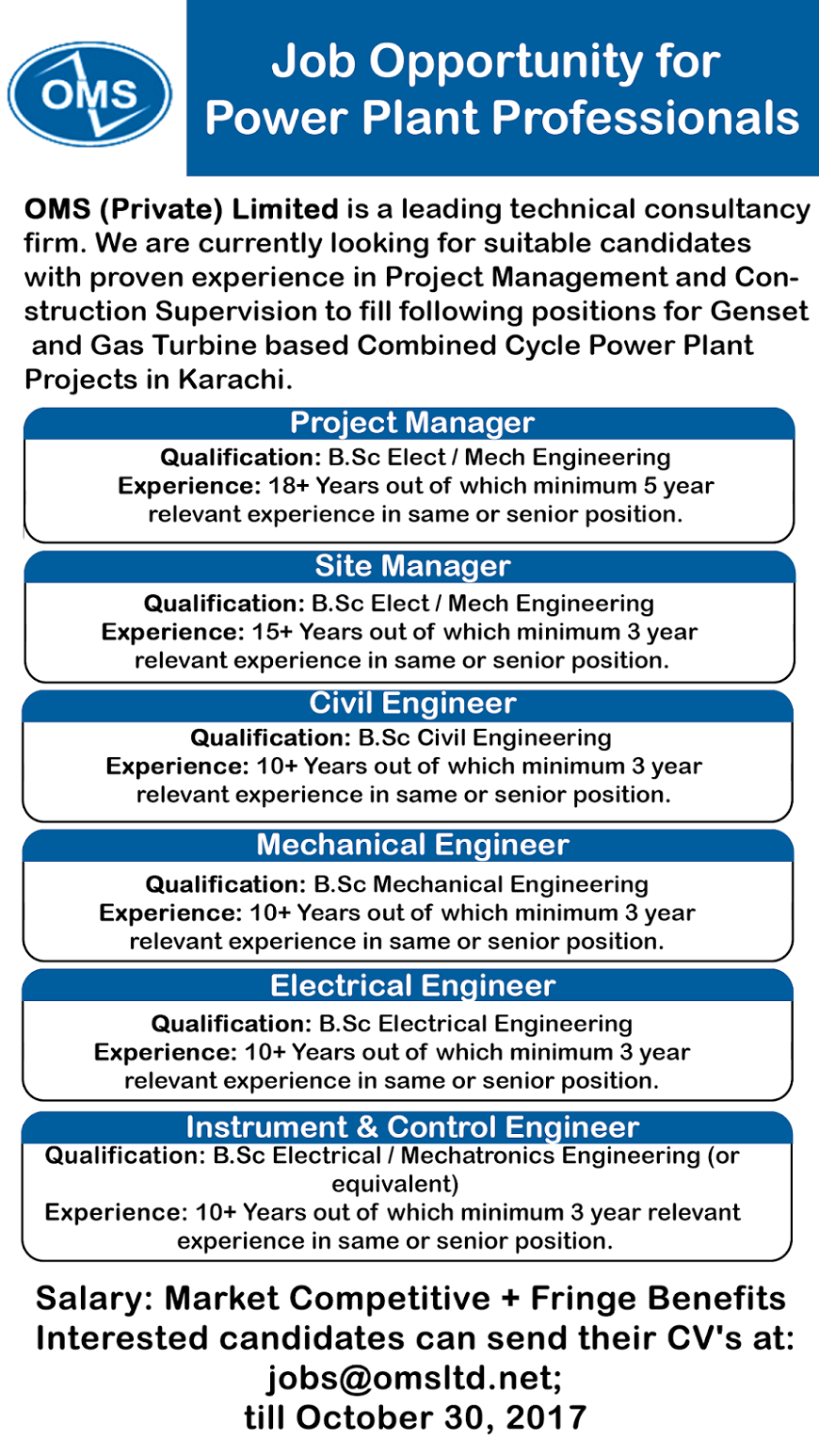 Oms Jobs For Power Plant Professionals Jobs In Pakistan