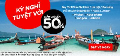 giảm giá đến 50% cho Kỳ nghỉ tuyệt vời từ Air Asia