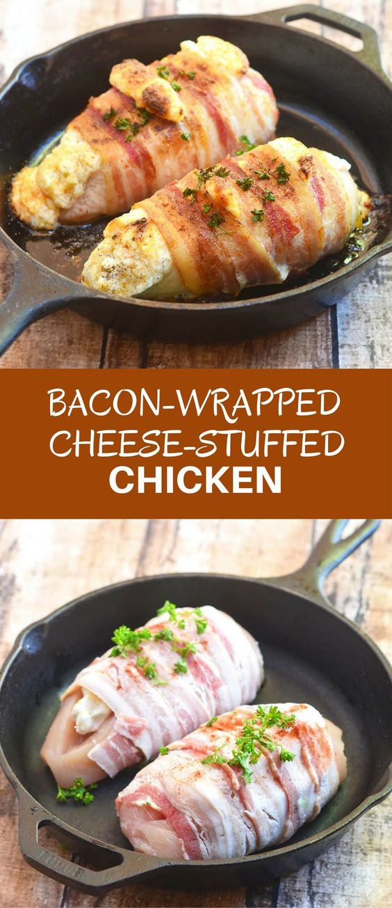 Bacon-Wrapped Cheese-Stuffed Chicken #bacon #wrapped #cheese #stuffed #chicken #dinnerecipes #dinnerideas #dinner