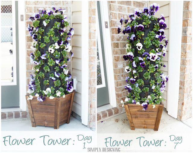 Day 1 vs Day 7, DIY Flower Tower, Simply Designing for The Home Depot #digin #heartoutdoors #spring #sponsored