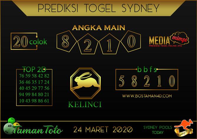 Prediksi Togel SYDNEY TAMAN TOTO 24 MARET 2020