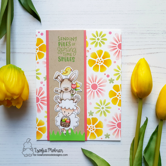 Spring Card with pile of Animals by Zsofia Molnar | Spring Pile Up Stamp Set and Bold Blooms Stencil by Newton's Nook Designs #newtonsnook #handmade
