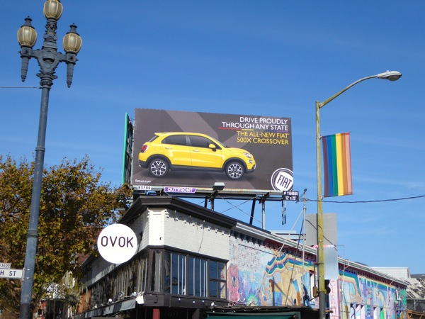Fiat 500X crossover Drive proudly any state billboard