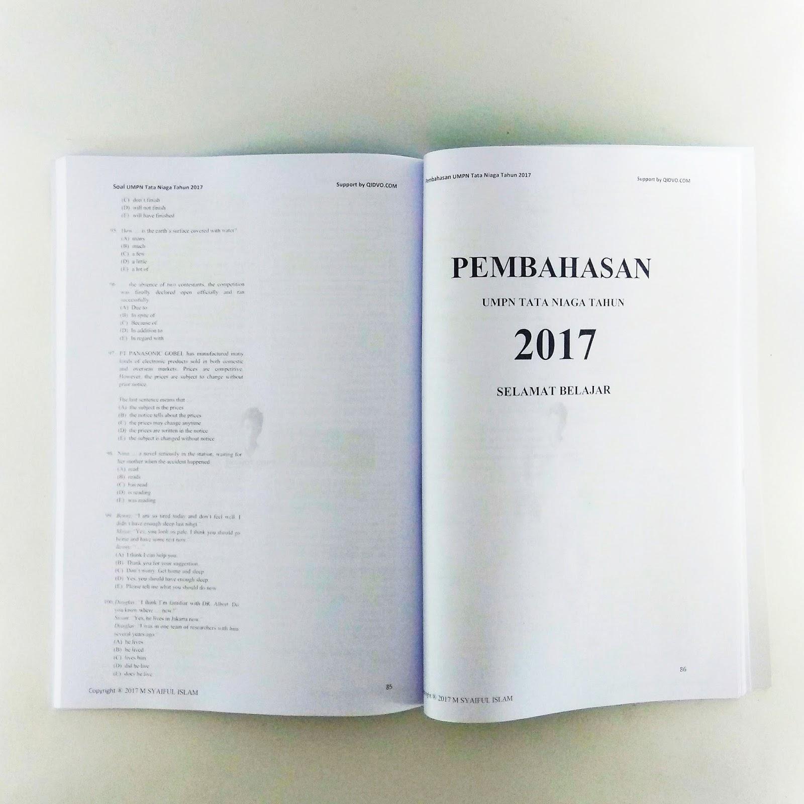 Buku Kumpulan Soal dan Pembahasan UMPN Bidang Tata Niaga
