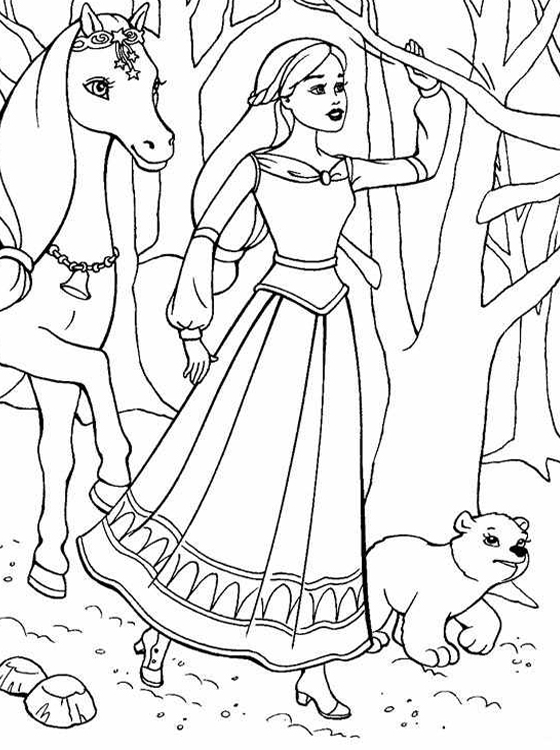 Kids page barbie coloring pages for childrens for Barbie free printable coloring pages