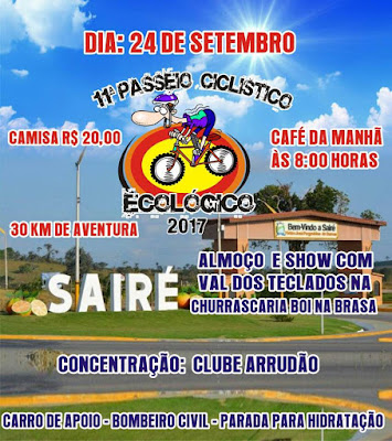 Município de Sairé sedia 11º Passeio Ciclístico Ecológico
