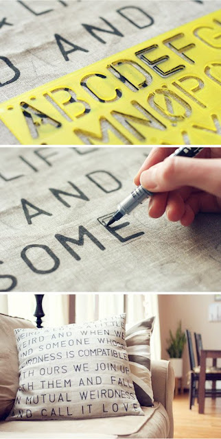 9 Super Easy DIY Home Decor Projects You Can Make This Weekend | DIY: Stencil Text on Fabric | zenshmen.com via Wit & Whistle