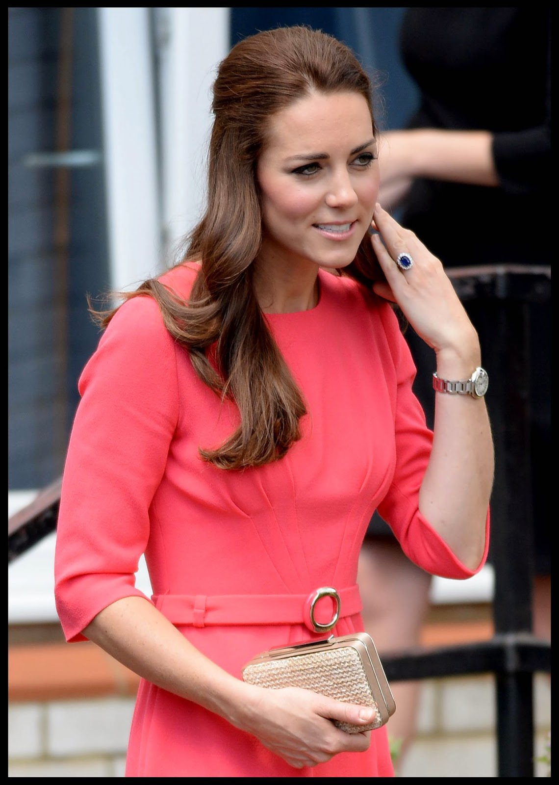 Kate Middleton In A Salmon Coloured Pencil Dress At School
