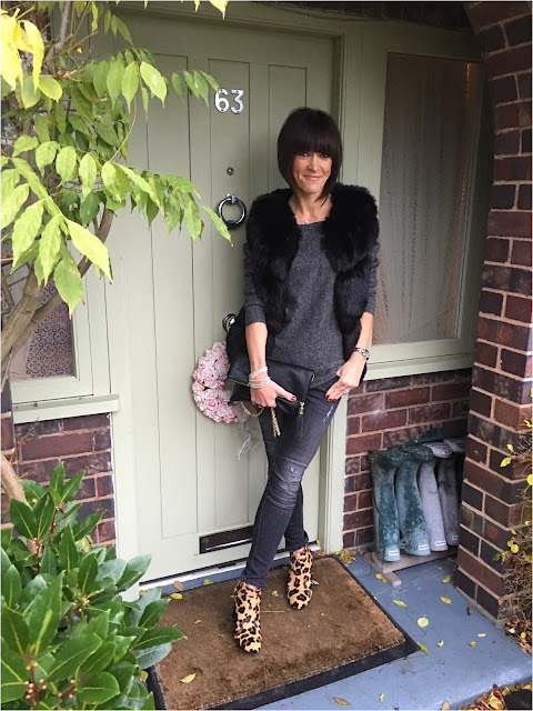 My Midlife Fashion, Yosa, The Jane Clutch Bag, Bella Jane Jewellery, Zara Draped Cashmere Jumper, Faux Fur Gilet, Zara Biker jeans, Boden Leopard Print Ankle Boots