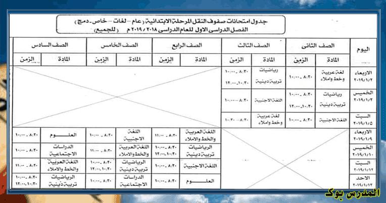 جدول امتحانات محافظة أسوان 2019 نصف العام جميع المراحل ابتدائي واعدادي وثانوي الفصل الدراسي الأول