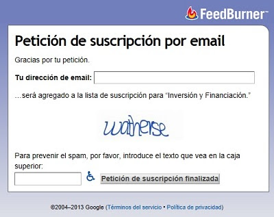 Registro de usuarios con Feedburner