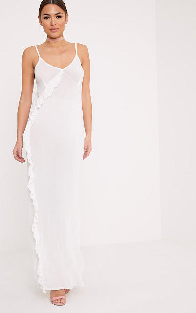 White ruffle mesh maxi dress