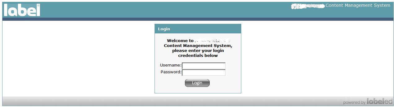 Admin cpanel login screen