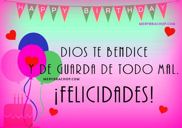 Tarjetas con mensajes cristianos de cumpleaños para hija, hermana, amiga, frases bonitas para felicitar cumple con imágenes cristianas por Mery Bracho.