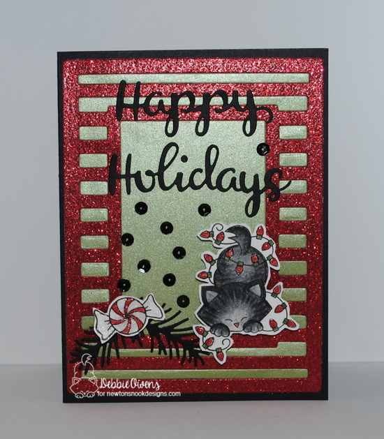 Happy holidays by Debbie features Newton's Holiday Mischief, Newton's Candy Cane, Holiday Greetings, and Pines & Holly by Newton's Nook Designs; #newtonsnook
