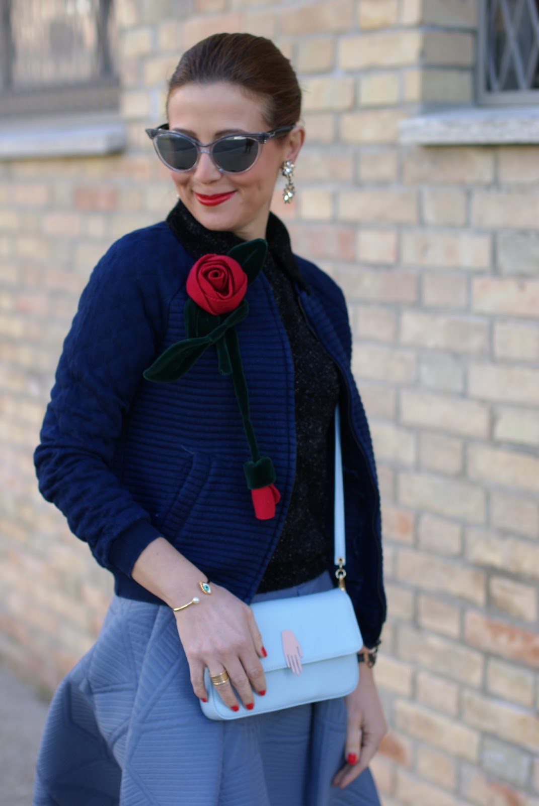 Valentine's day romantic outfit with bomber jacket, asymmetrical midi skirt, red roses handmade brooch on Fashion and Cookies fashion blog, fashion blogger style