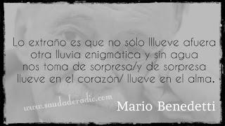 """""""lo extraño es que no sólo lllueve afuera otra lluvia enigmática y sin agua nos toma de sorpresa/y de sorpresa llueve en el corazón/ llueve en el alma."""" Mario Benedetti - Lluvia"""