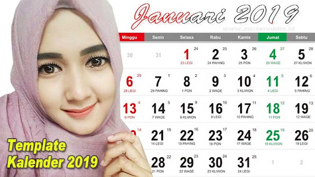 Free Download Template Kalender 2019 Indonesia Pdf, Cdr, Jpg, Ai dan Png Lengkap