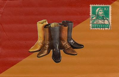 boots flag Swiss postage stamp Dada Fluxus collage