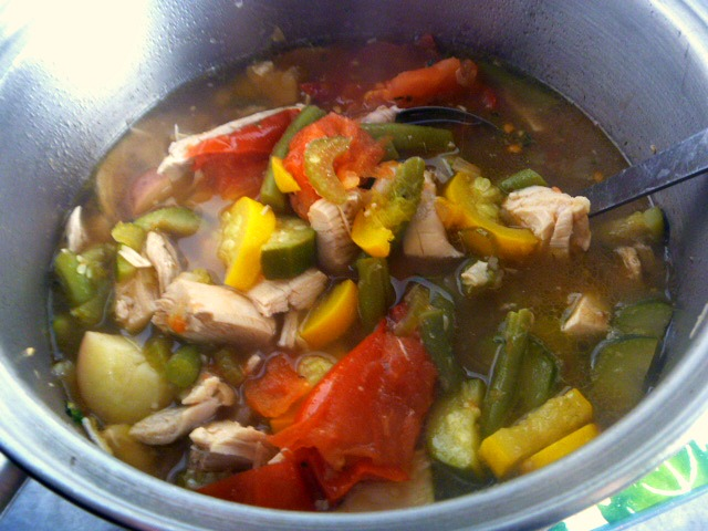 Farmers Market Bounty Summer Vegetable Soup with Chicken:  7 types of crisp, fresh from the farm, vegetables are the star of this dish! Cook them in a hearty chicken broth, laced with herbs, and add some tender roasted chicken and you have one healthy summer soup! - Slice of Southern