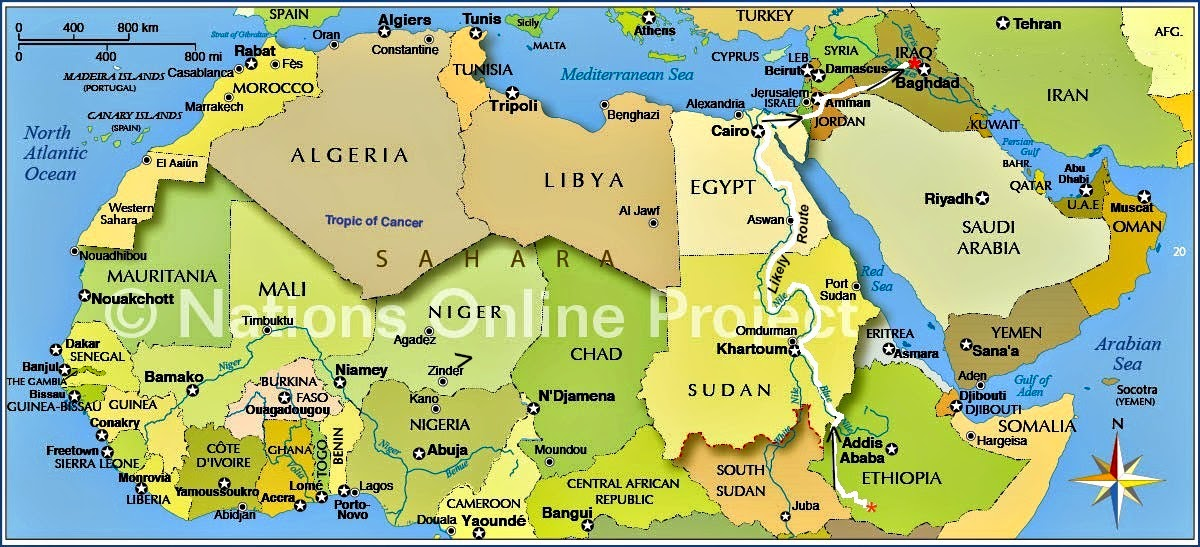 north africa map rivers