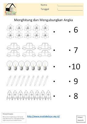 Lembar Kerja Paud Menghitung dan Menghubungkan Angka (10)
