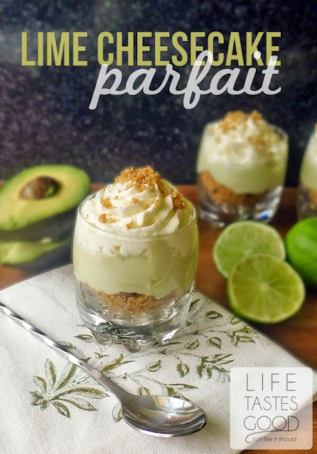 Lime Cheesecake Parfait | by Life Tastes Good is lusciously delicious with a secret healthy ingredient #avocado #healthy