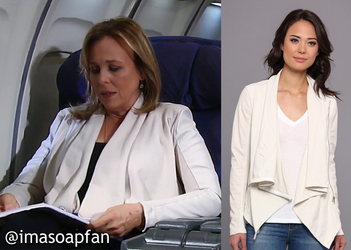 Laura Spencer's Beige Asymmetric Zip Jacket - General Hospital, Season 54, Episode 09/29/16