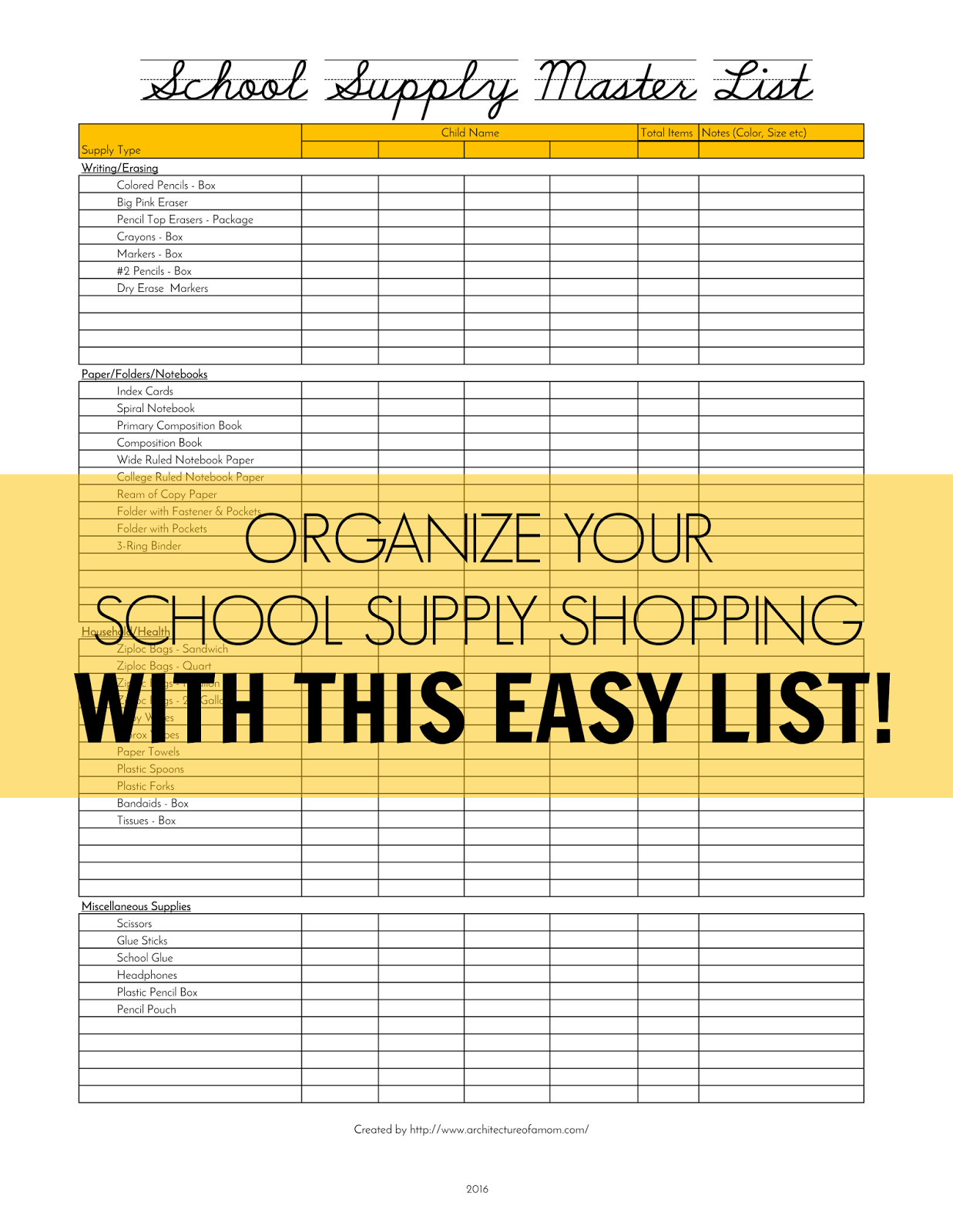 Architecture of a Mom: School Supply Master List Printable