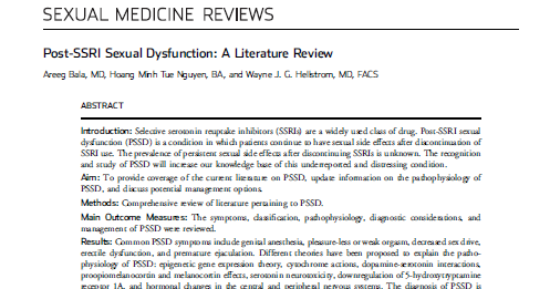 Post-ssri sexual dysfunction prevalence