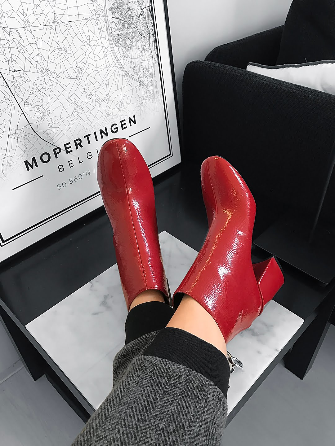 Red patent, ankle boots, zara, 2016, fall winter
