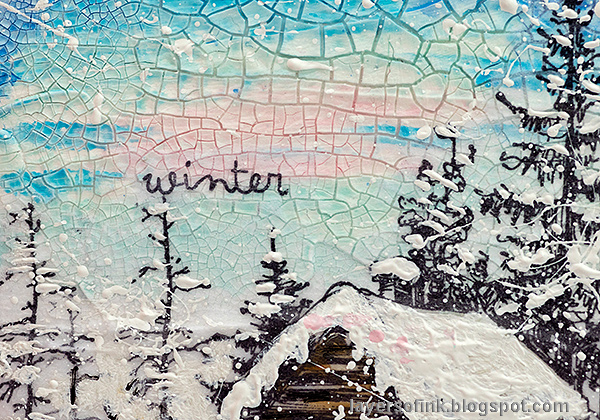 Layers of ink - Winter Wonderland Mixed Media Canvas Tutorial by Anna-Karin Evaldsson.