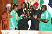 President Jonathan receives the Super Falcons at the Villa