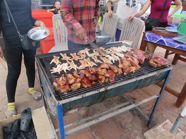 Pig face street food on the BBQ with Siem Reap Food Tours in Cambodia
