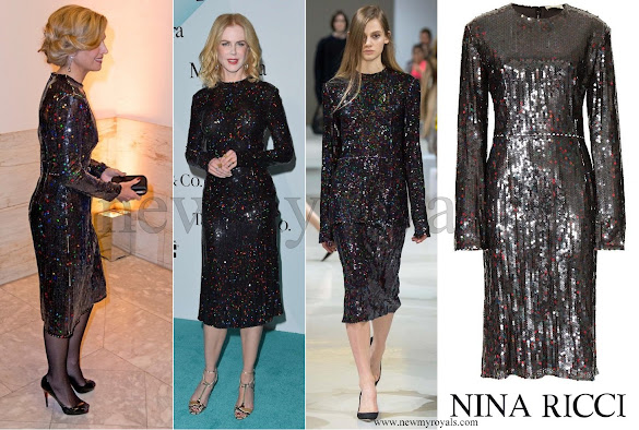 Queen Maxima wore long sleeve sequin dress from Nina Ricci Fall 2015 collection