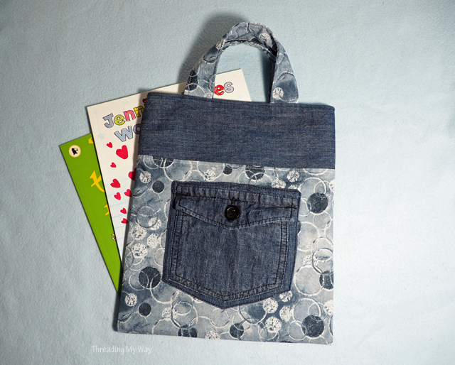 Learn how to make a denim and cotton tote bag. Tutorial by Threading My Way